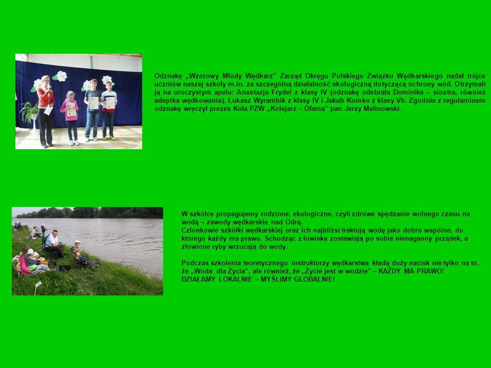 """Odznakę """"Wzorowy Młody Wędkarz Zarząd Okręgu Polskiego Związku Wędkarskiego nadał trójce uczniów naszej szkoły m.in. za szczególną działalność ekologiczną dotyczącą ochrony wód. Otrzymali ją na uroczystym apelu: Anastazja Frydel z klasy IV (odznakę odebrała Dominika – siostra, również adeptka wędkowania), Łukasz Wyrambik z klasy IV i Jakub Komko z klasy Vb. Zgodnie z regulaminem odznakę wręczył prezes Koła PZW """"Kolejarz – Ofama pan Jerzy Malinowski."""