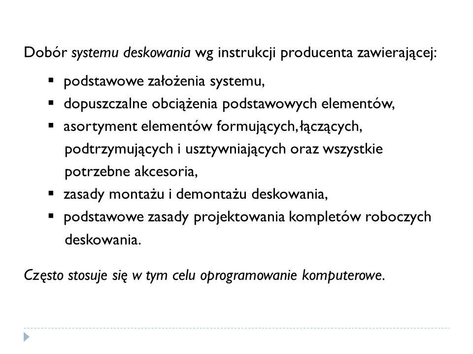 Dobór systemu deskowania wg instrukcji producenta zawierającej: