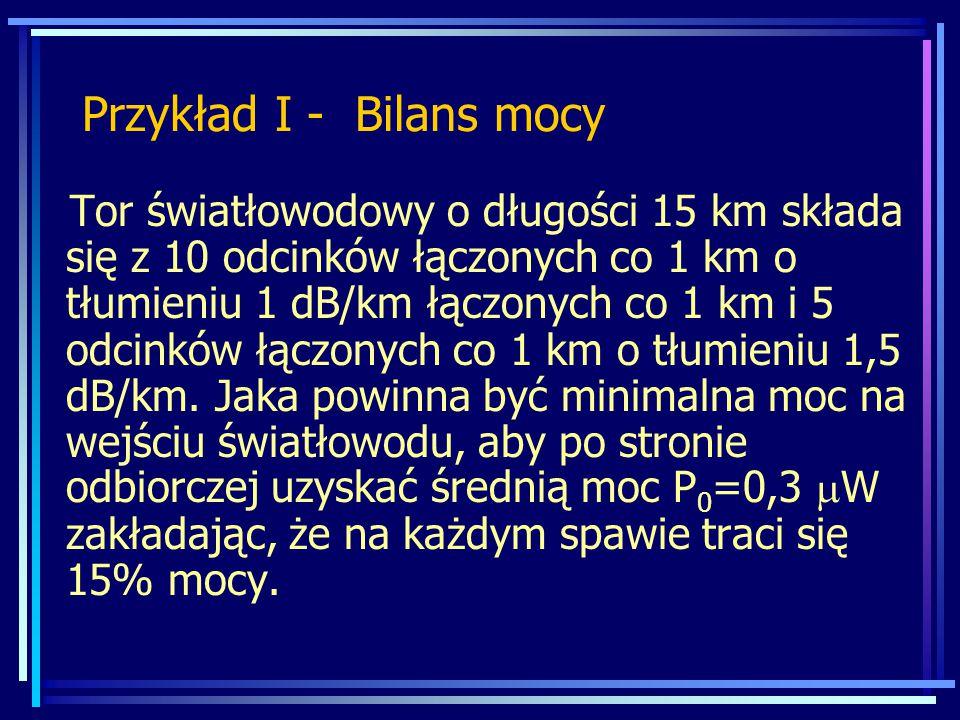 Przykład I - Bilans mocy
