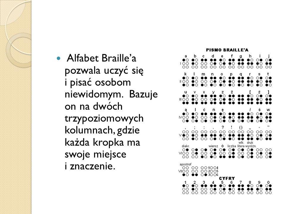 Alfabet Braille'a pozwala uczyć się i pisać osobom niewidomym