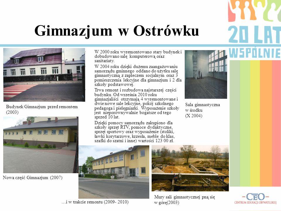 Gimnazjum w Ostrówku W 2000 roku wyremontowano stary budynek i dobudowano salę komputerową oraz sanitariaty.
