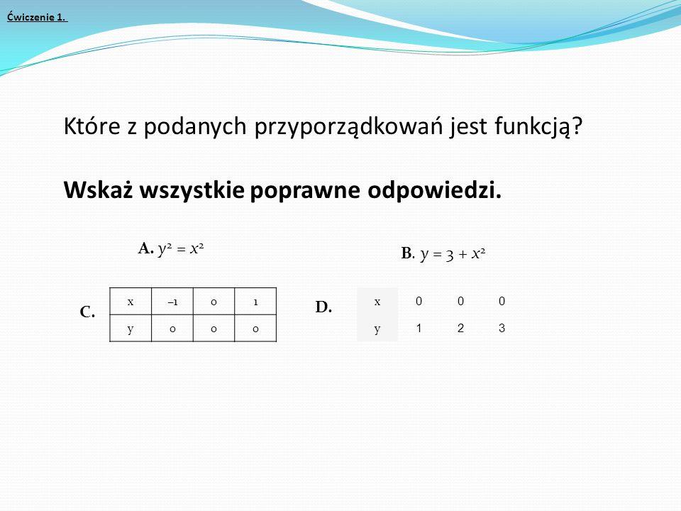 Ćwiczenie 1. Które z podanych przyporządkowań jest funkcją Wskaż wszystkie poprawne odpowiedzi. A. y2 = x2.