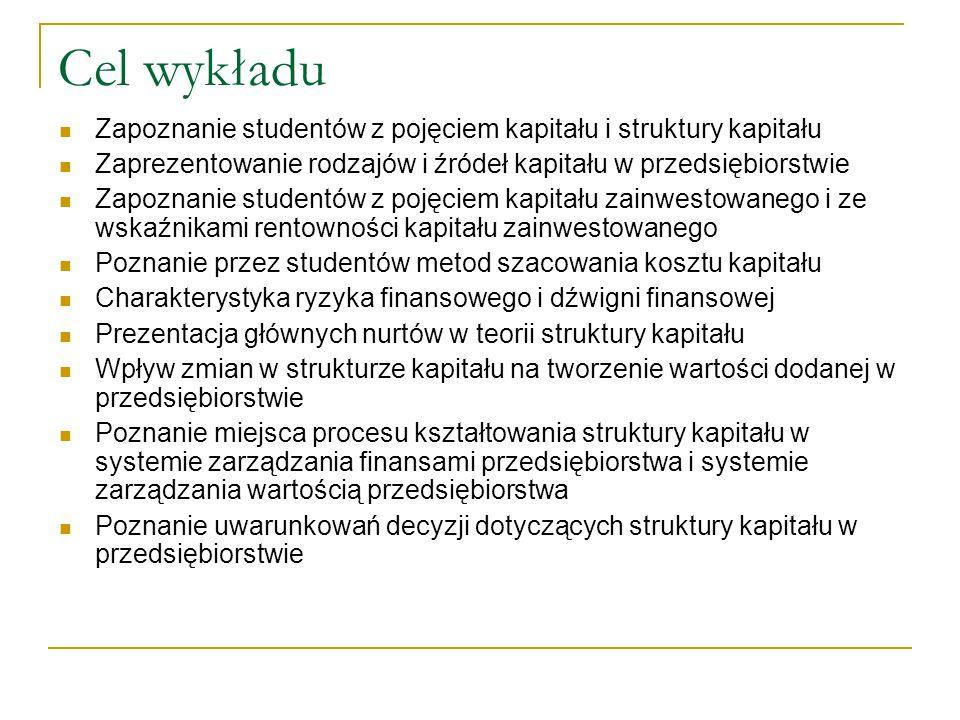 Cel wykładu Zapoznanie studentów z pojęciem kapitału i struktury kapitału. Zaprezentowanie rodzajów i źródeł kapitału w przedsiębiorstwie.