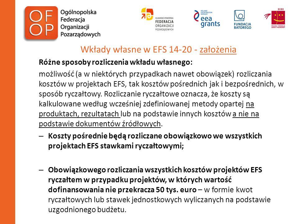 Wkłady własne w EFS 14-20 - założenia