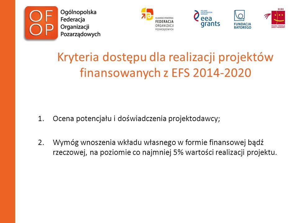 Kryteria dostępu dla realizacji projektów finansowanych z EFS 2014-2020