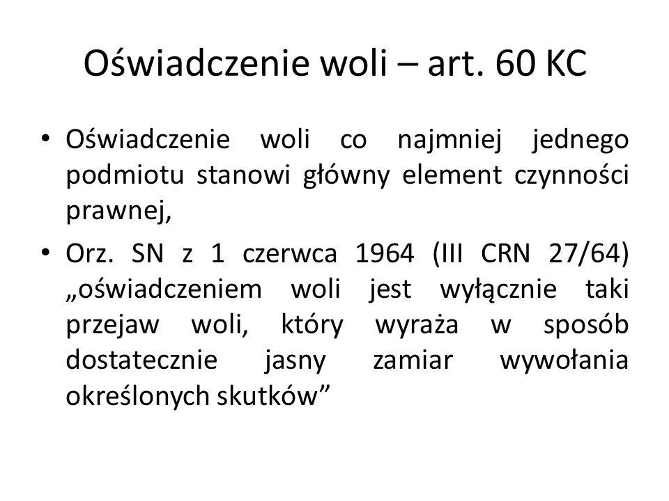 Oświadczenie woli – art. 60 KC