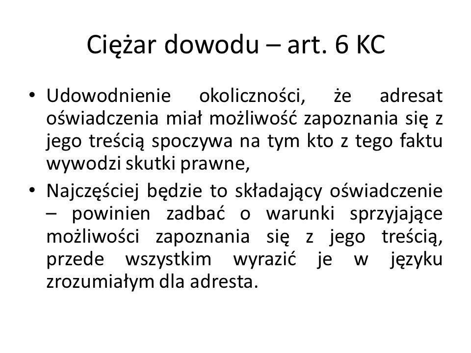 Ciężar dowodu – art. 6 KC