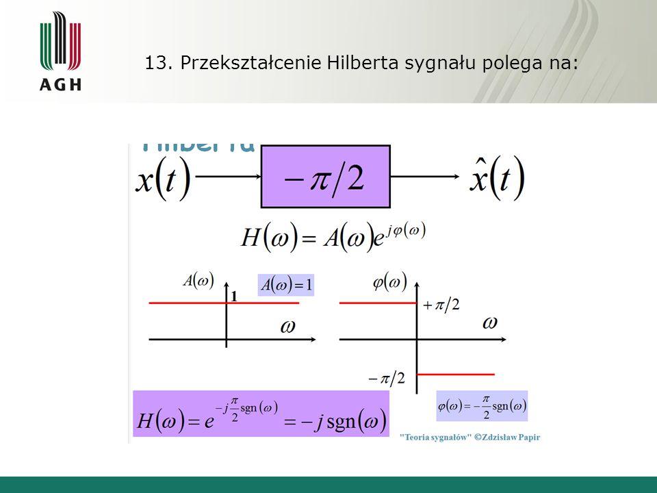 13. Przekształcenie Hilberta sygnału polega na: