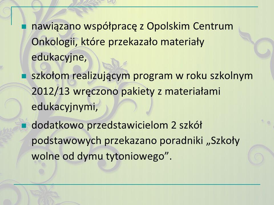 nawiązano współpracę z Opolskim Centrum Onkologii, które przekazało materiały edukacyjne,