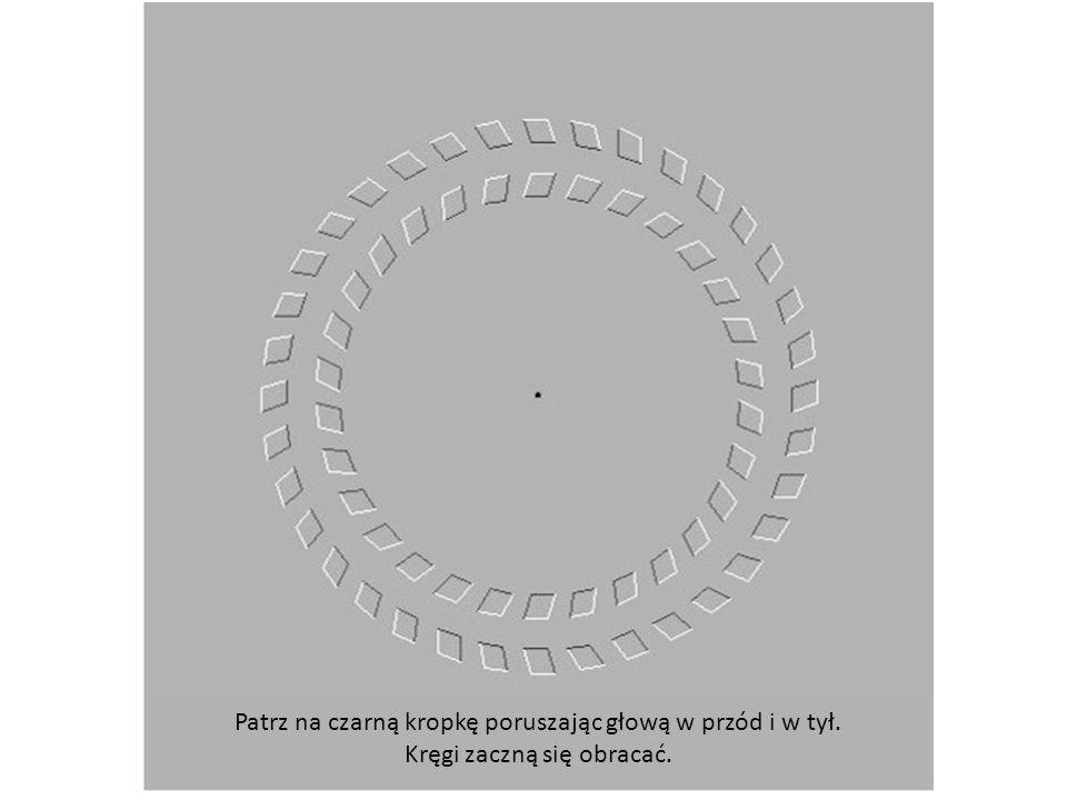 Patrz na czarną kropkę poruszając głową w przód i w tył.