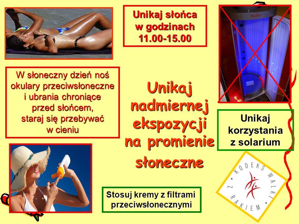 Unikaj nadmiernej ekspozycji na promienie słoneczne