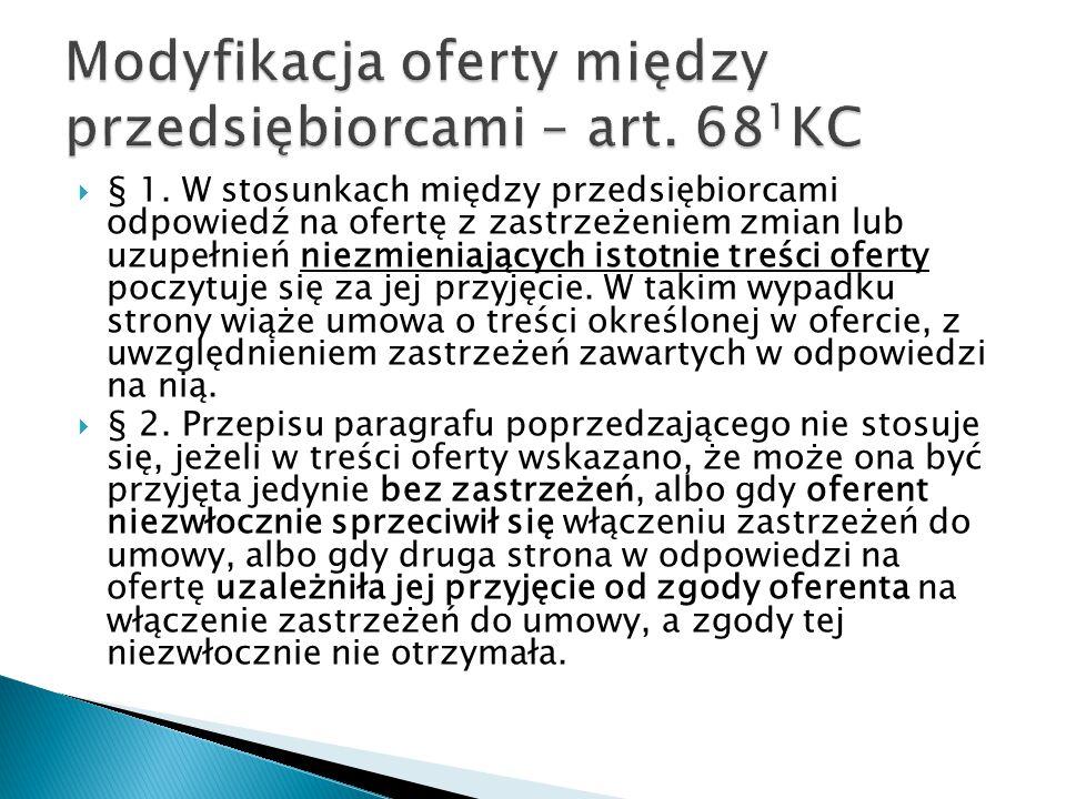Modyfikacja oferty między przedsiębiorcami – art. 681KC