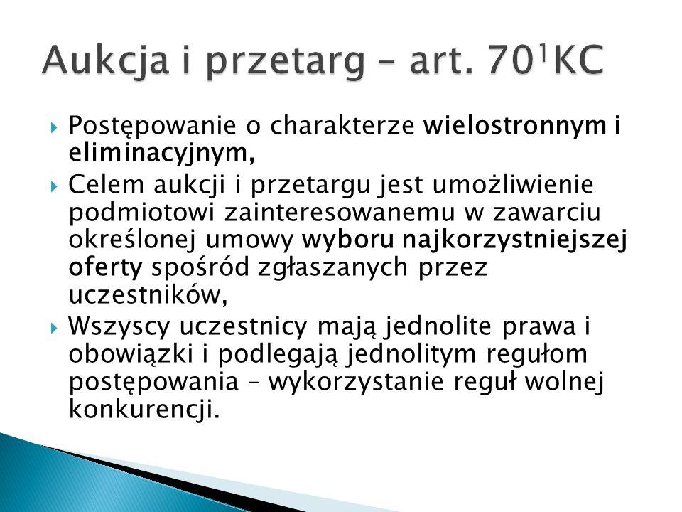 Aukcja i przetarg – art. 701KC