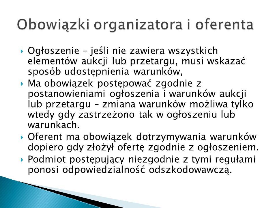 Obowiązki organizatora i oferenta