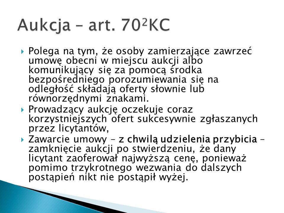 Aukcja – art. 702KC