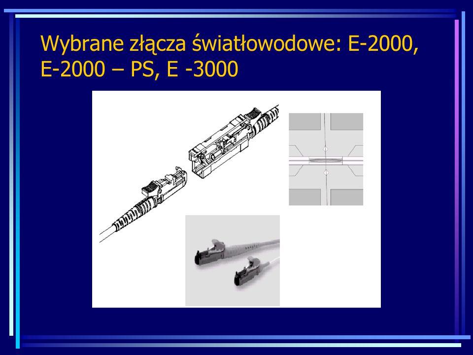Wybrane złącza światłowodowe: E-2000, E-2000 – PS, E -3000