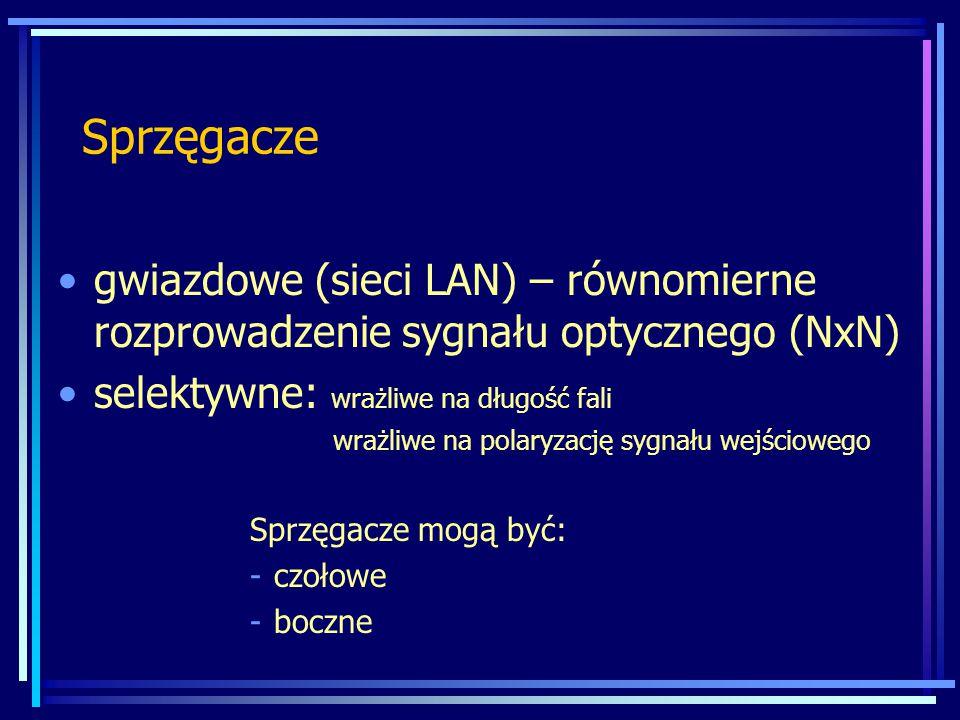 Sprzęgacze gwiazdowe (sieci LAN) – równomierne rozprowadzenie sygnału optycznego (NxN) selektywne: wrażliwe na długość fali.