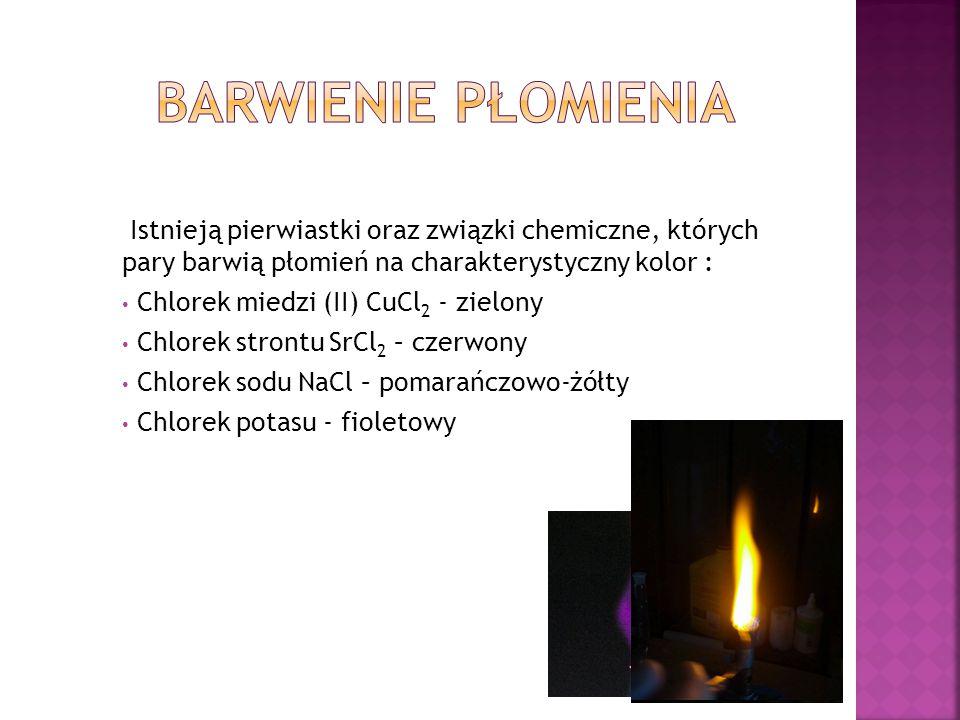 Barwienie płomienia Istnieją pierwiastki oraz związki chemiczne, których pary barwią płomień na charakterystyczny kolor :