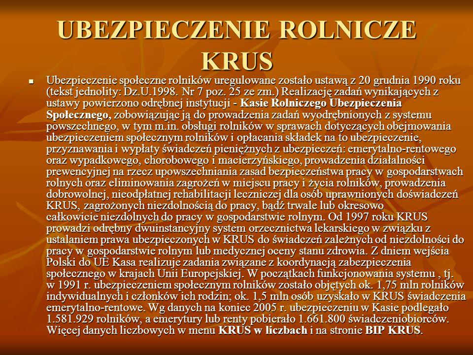UBEZPIECZENIE ROLNICZE KRUS