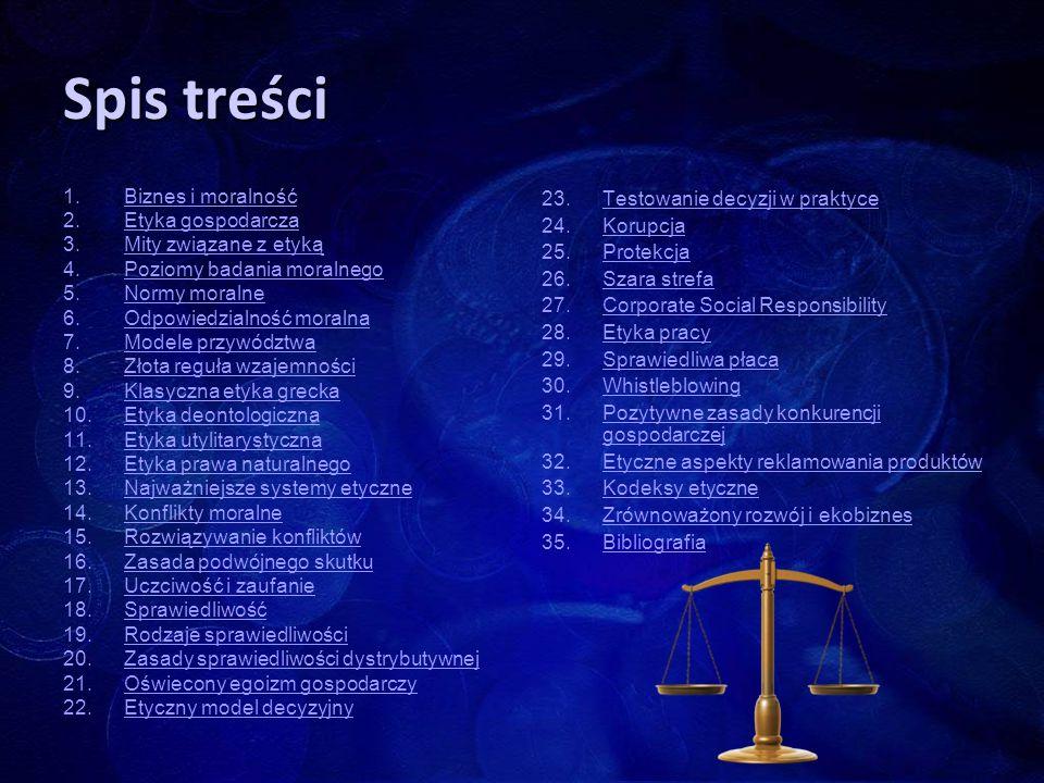 Spis treści Biznes i moralność Etyka gospodarcza Mity związane z etyką