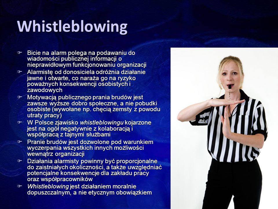 Whistleblowing Bicie na alarm polega na podawaniu do wiadomości publicznej informacji o nieprawidłowym funkcjonowaniu organizacji.
