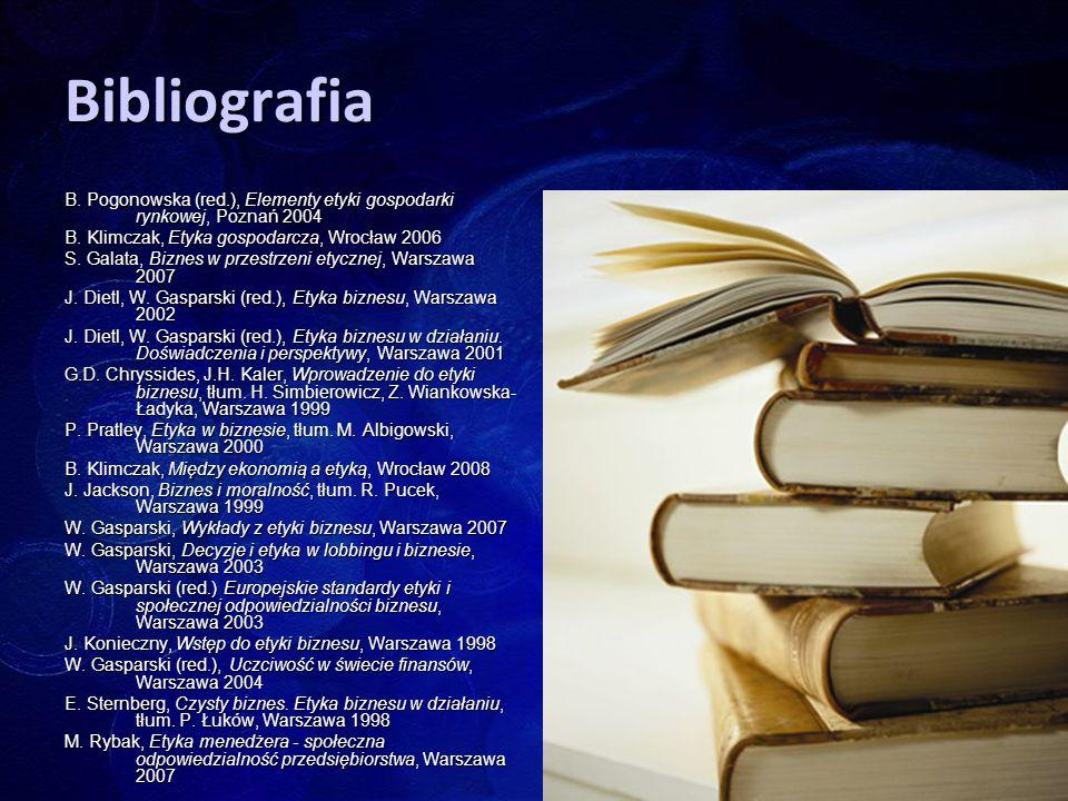 Bibliografia B. Pogonowska (red.), Elementy etyki gospodarki rynkowej, Poznań 2004. B. Klimczak, Etyka gospodarcza, Wrocław 2006.