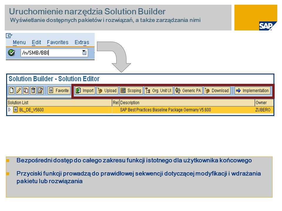 Uruchomienie narzędzia Solution Builder Wyświetlanie dostępnych pakietów i rozwiązań, a także zarządzania nimi