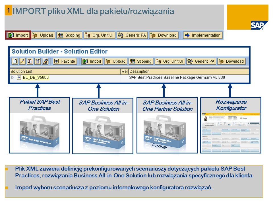 IMPORT pliku XML dla pakietu/rozwiązania