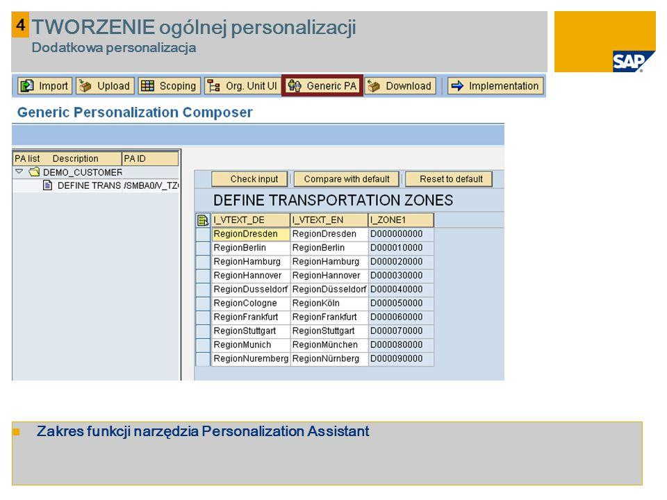 TWORZENIE ogólnej personalizacji Dodatkowa personalizacja