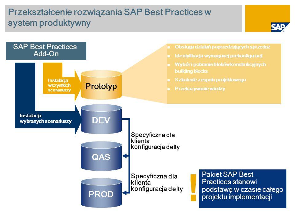 Przekształcenie rozwiązania SAP Best Practices w system produktywny