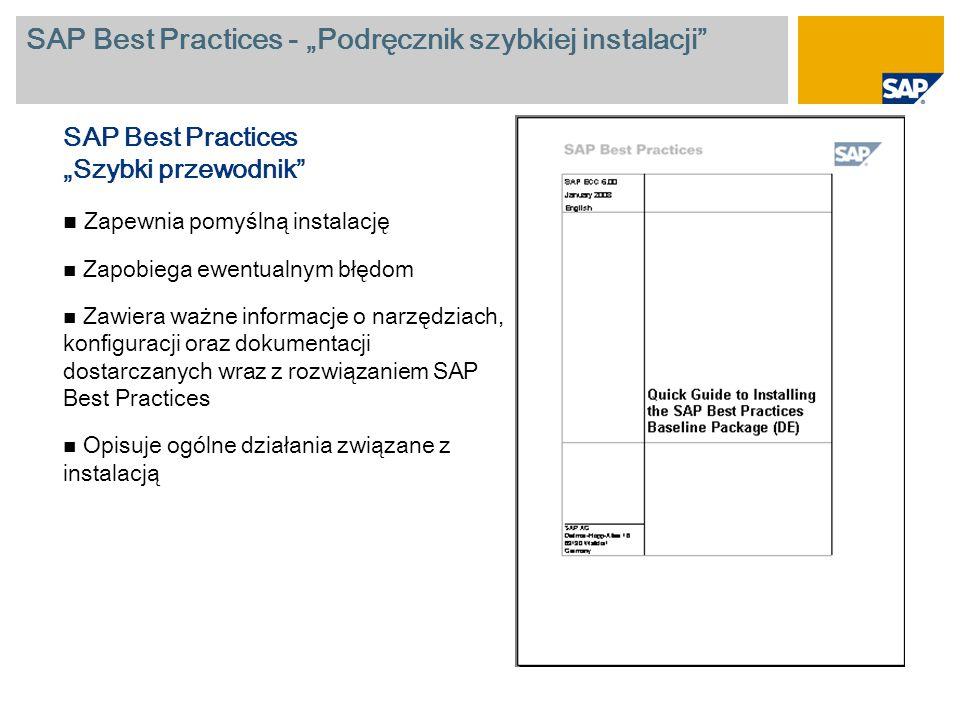"""SAP Best Practices - """"Podręcznik szybkiej instalacji"""