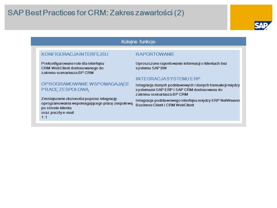 SAP Best Practices for CRM: Zakres zawartości (2)
