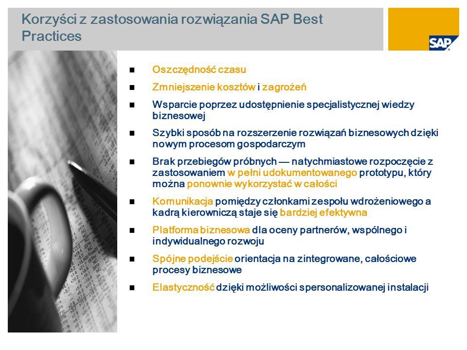 Korzyści z zastosowania rozwiązania SAP Best Practices