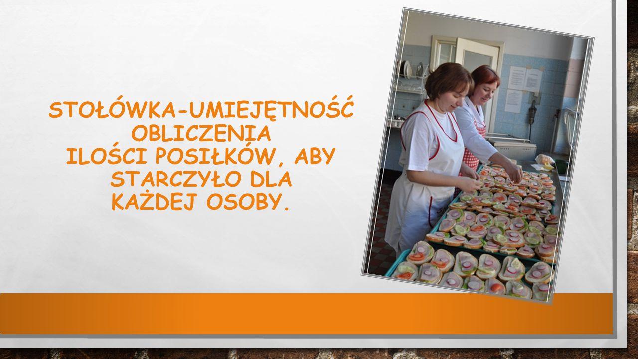 Stołówka-umiejętność obliczenia ilości posiłków, aby starczyło dla każdej osoby.