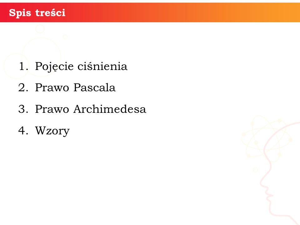 Pojęcie ciśnienia Prawo Pascala Prawo Archimedesa Wzory informatyka +