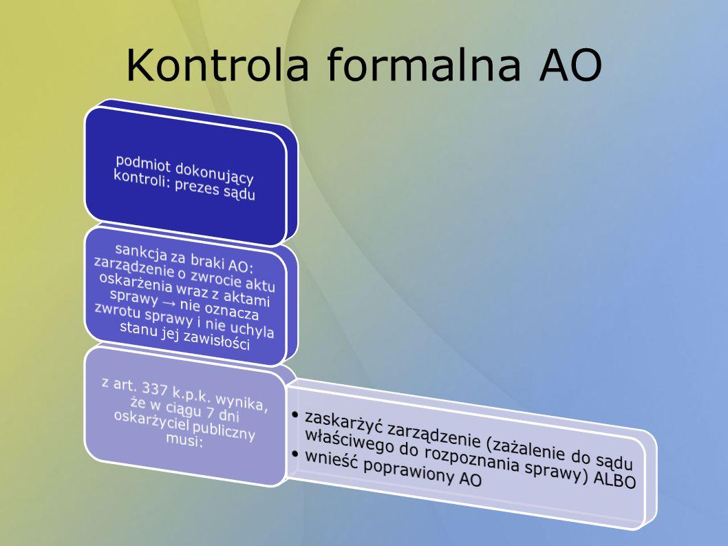 Kontrola formalna AO podmiot dokonujący kontroli: prezes sądu