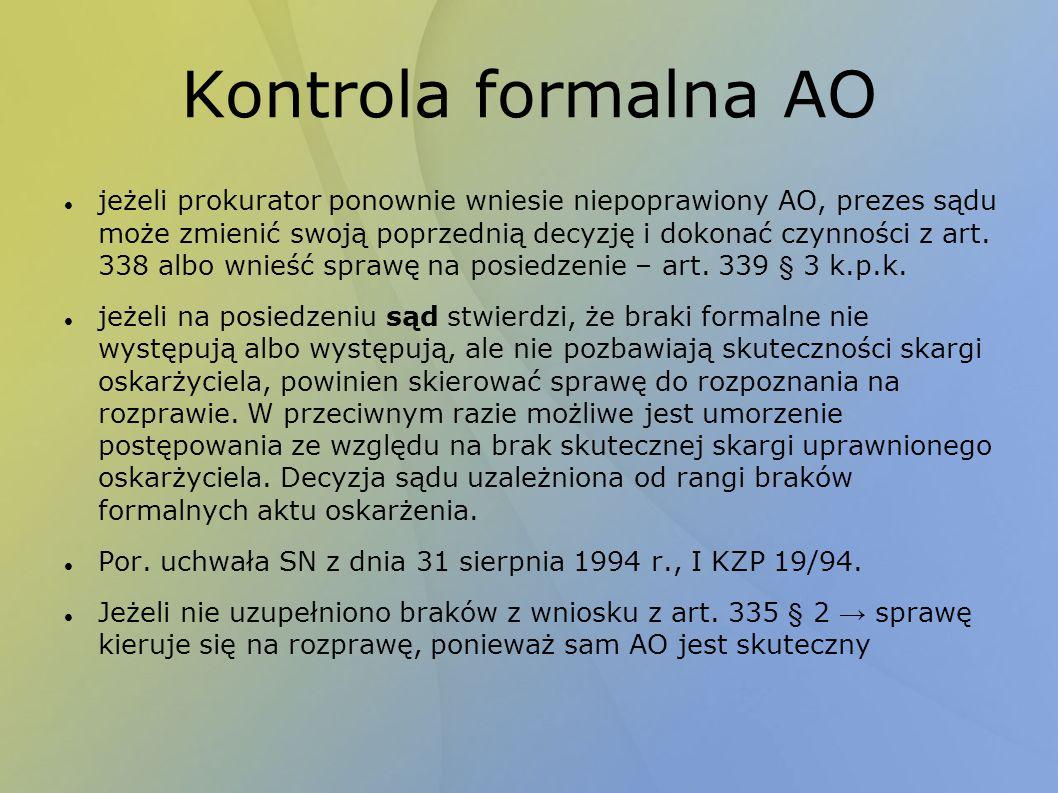 Kontrola formalna AO