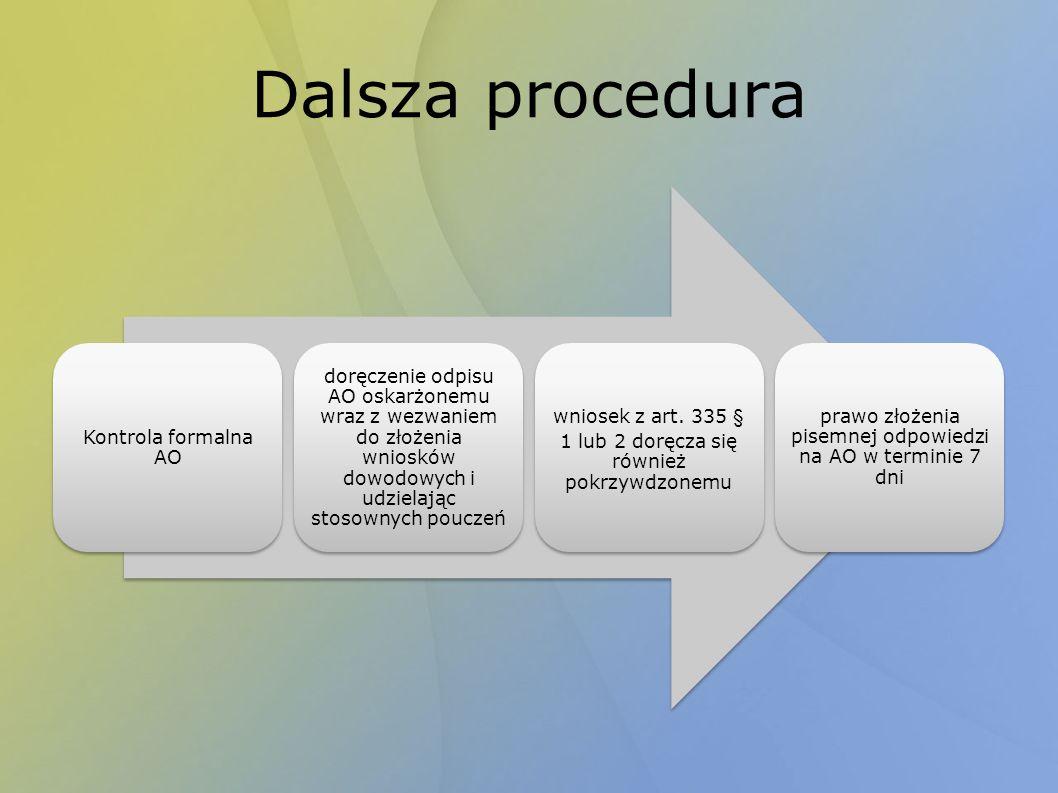 Dalsza procedura Kontrola formalna AO