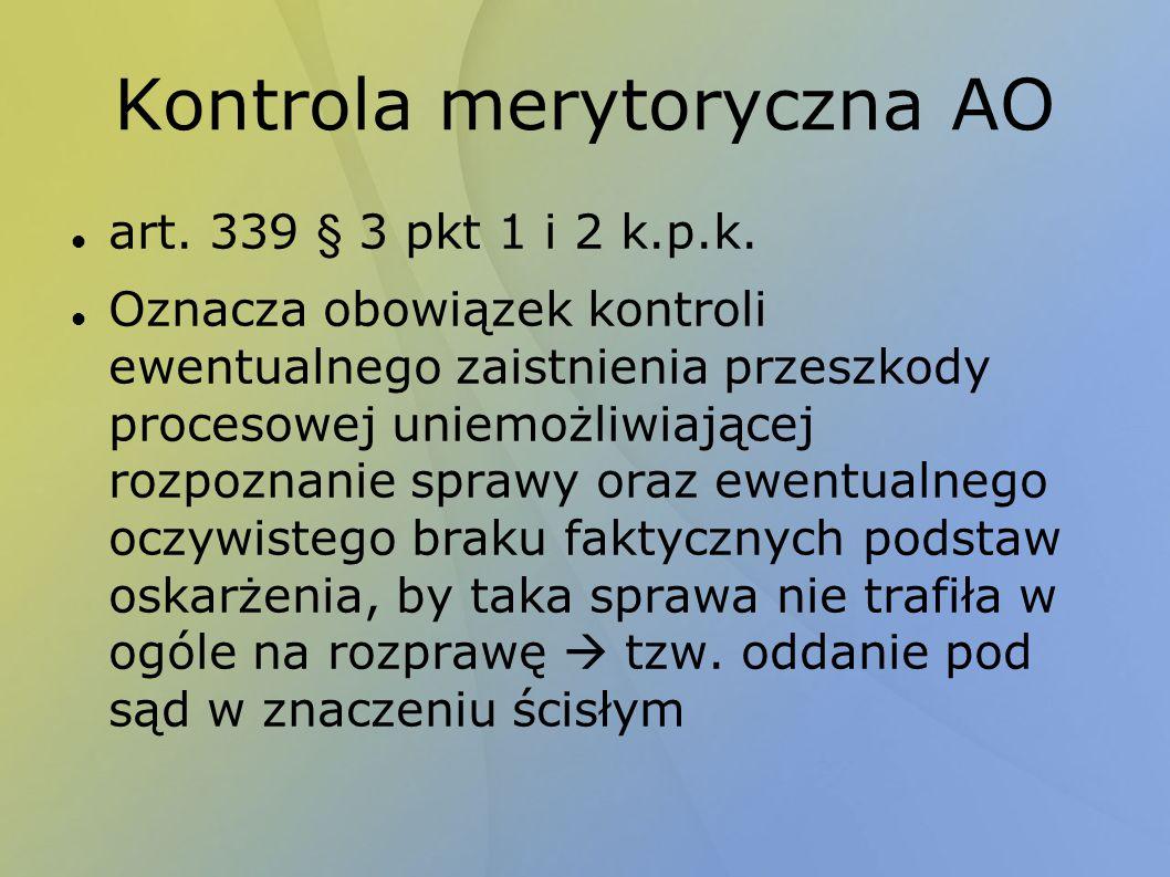 Kontrola merytoryczna AO