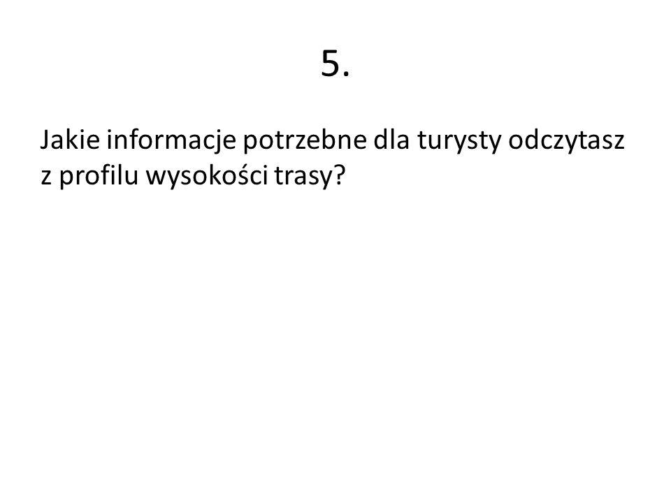 5. Jakie informacje potrzebne dla turysty odczytasz z profilu wysokości trasy