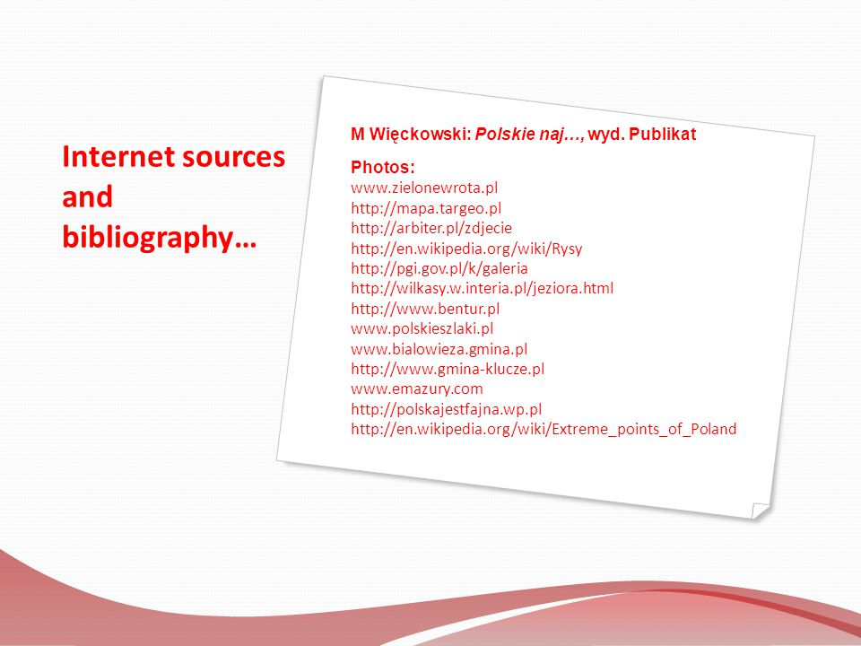 Internet sources and bibliography…