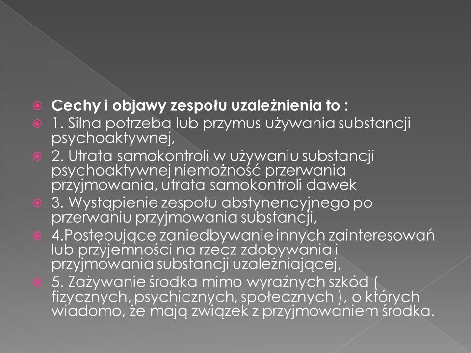 Cechy i objawy zespołu uzależnienia to :