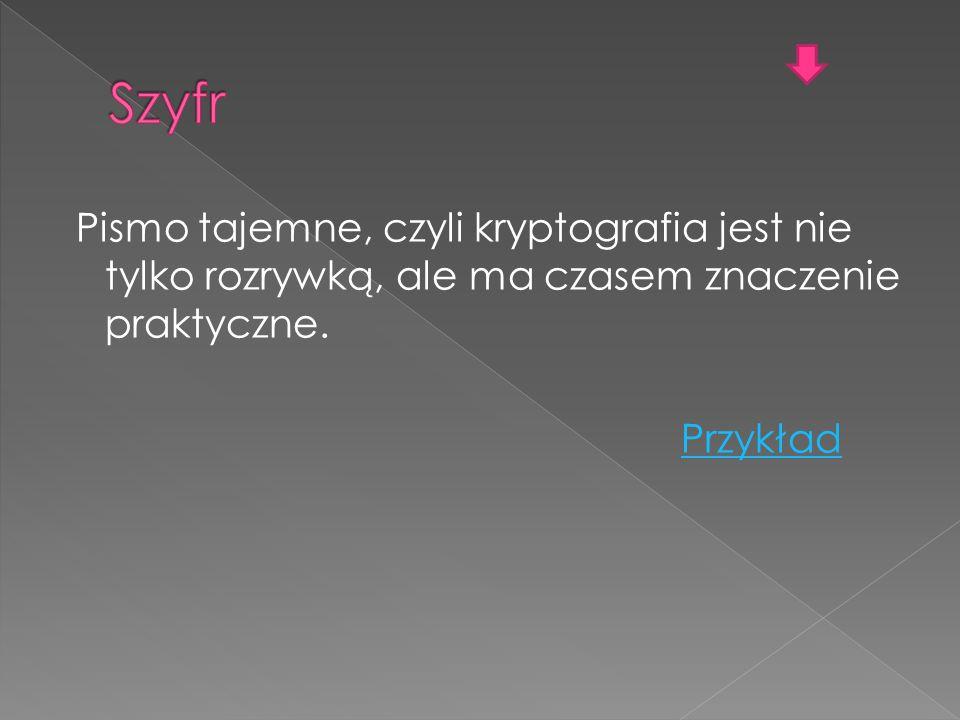 Szyfr Pismo tajemne, czyli kryptografia jest nie tylko rozrywką, ale ma czasem znaczenie praktyczne.