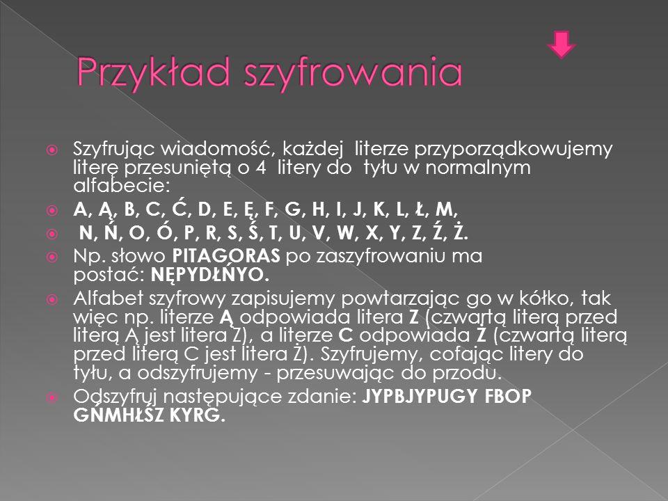Przykład szyfrowania Szyfrując wiadomość, każdej literze przyporządkowujemy literę przesuniętą o 4 litery do tyłu w normalnym alfabecie: