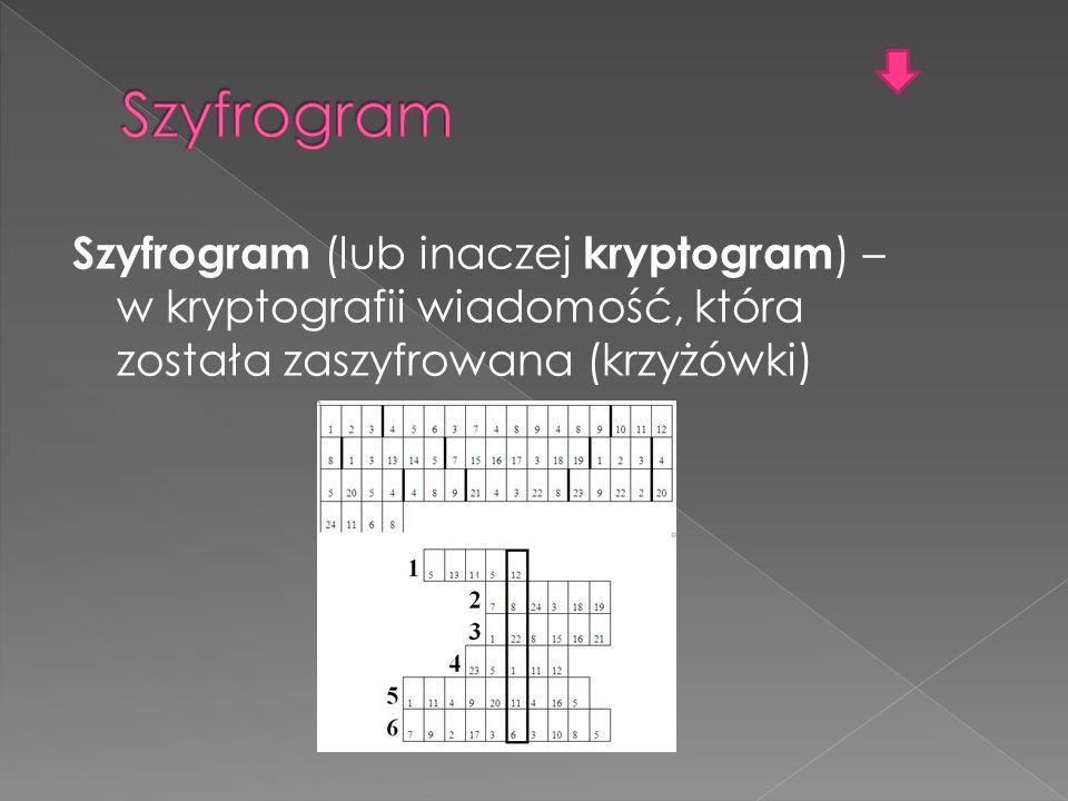 Szyfrogram Szyfrogram (lub inaczej kryptogram) – w kryptografii wiadomość, która została zaszyfrowana (krzyżówki)