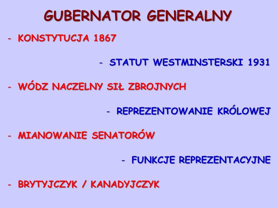 GUBERNATOR GENERALNY KONSTYTUCJA 1867 STATUT WESTMINSTERSKI 1931