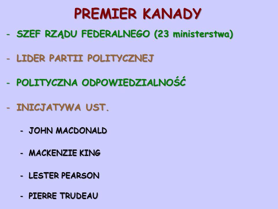 PREMIER KANADY SZEF RZĄDU FEDERALNEGO (23 ministerstwa)
