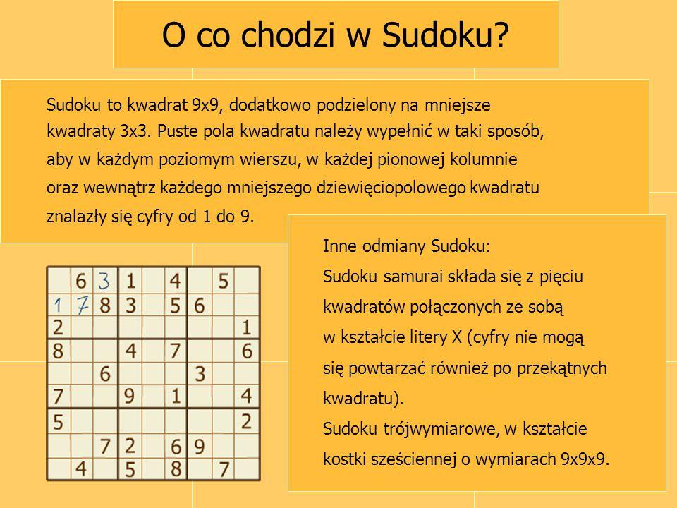 O co chodzi w Sudoku Sudoku to kwadrat 9x9, dodatkowo podzielony na mniejsze. kwadraty 3x3. Puste pola kwadratu należy wypełnić w taki sposób,