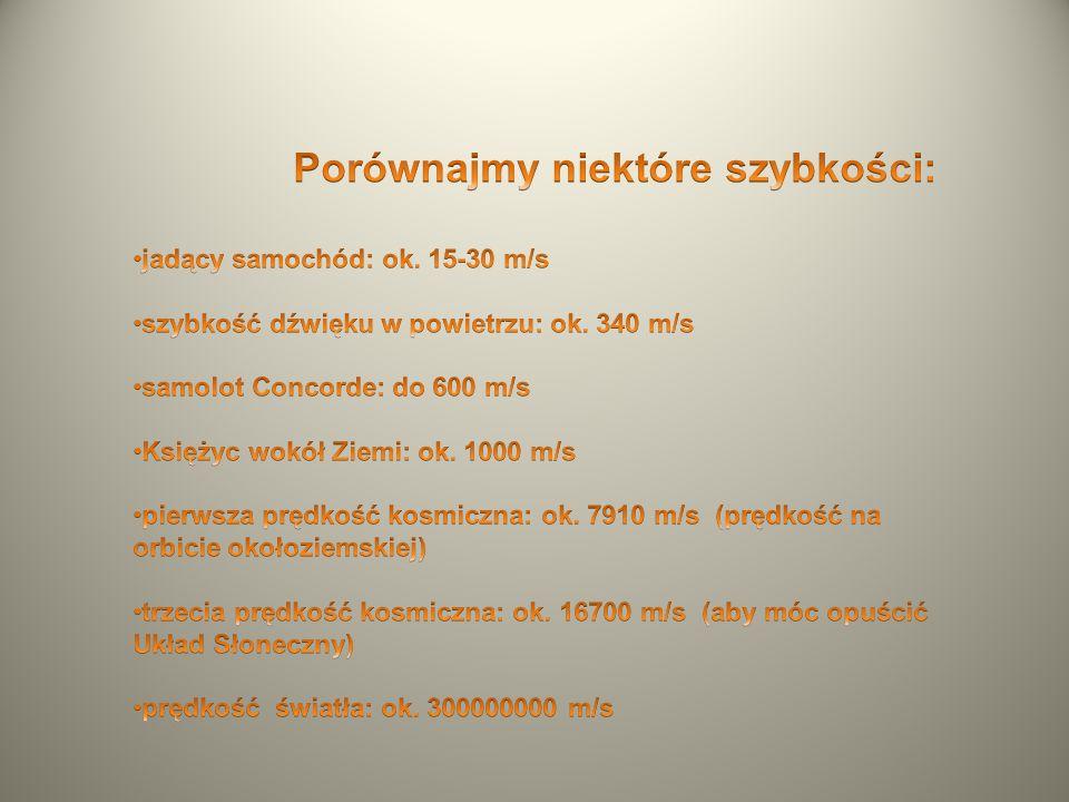 Porównajmy niektóre szybkości: