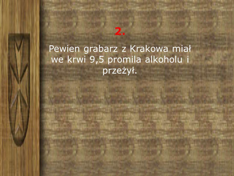 Pewien grabarz z Krakowa miał we krwi 9,5 promila alkoholu i przeżył.